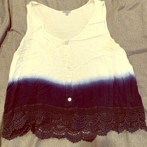 Charlotte Russe blue/white ombré tank, xl